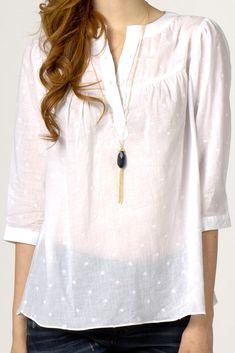 Basic White Embroidery Blouse