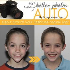 too busy to read your camera manual? Learn how to get #better #photos on AUTO! Improve your photos step by step with this 8-part #photography series. Step 1 teaches you why you shouldn't use the on camera #flash and how to avoid it.