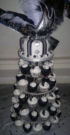 Silver and black masquerade cupcake tree!!!! #love