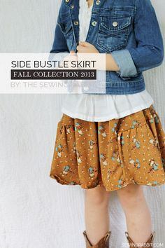 Side Bustle Kids Skirt DIY –#sewing tutorial with FREE PATTERN!!    #SewingRabbitFallCollection