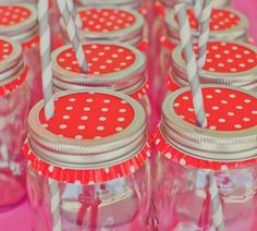 Cup cake liners as mason jar lids - poke a straw through for a cute drink!