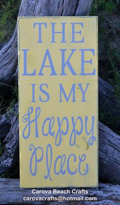 Lake - 20x10 - Sign - Home Decor - Lake House - Lake Sign - Lake Decor - Wall Hanging - Rustic - Painted No Vinyl - Yellow Gray - Cabin