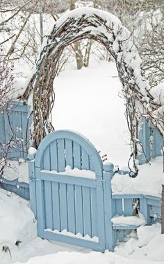winter snow, blue gate, blue garden, garden gates, arbor, winter wonderland, garden arches, baby blues, garden fences