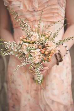 Peach Blooms and a Floral Bridesmaid Dress | Bit of Ivory Photography | See More! http://heyweddinglady.com/hitched-rustic-romance-wedding-i...