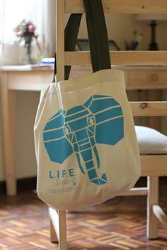 L.I.F.E Line Canvas Bag - Geometric Elephant