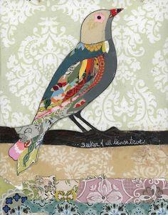 love bird  #collage #bird #mixed media