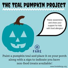 Let families with children with food allergies know that they can find non-food treats at your house for #Halloween! The Teal Pumpkin Project by Food Allergy Research & Education (FARE). Helping all kids participate in trick or treating.