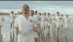 Rowan Atkinson cheated his way to victory in a mock up of the famous Chariots of Fire scene. London 2012