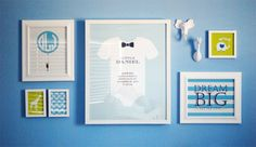 Pool Blue Nursery with White Gallery Wall - {Love the pops of lime in this gallery wall!} #gallerywall #nursery