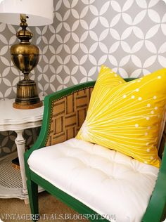 Cream and gray stenciled wall with our Endless Moorish Circles stencil makes an awesome neutral backdrop for this EPIC DIY makeover room by @Mandi Gubler! http://www.royaldesignstudio.com/