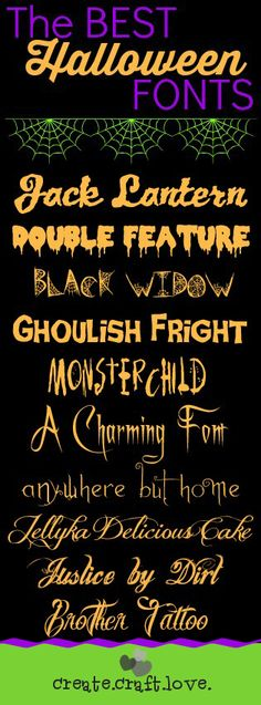 The BEST Halloween Fonts via createcraftlove.com