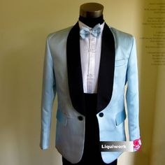 Best Men Blue 4 Piece Vintage Style Wedding Prom Dress Suit Tuxedo Tux SKU-123024