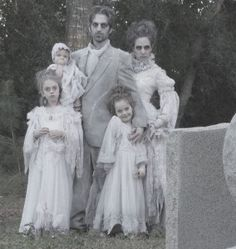 Family of Ghosts Halloween Costume. Instead of Christmas cards you could send Halloween cards!