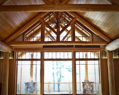 Stunning Camp Interior For Your Summer Holiday: Traditional Details Interior Beams Ceiling Glass Window Adirondack Camp ~ wbtourism.com Home...