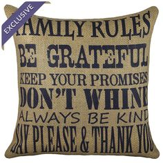 Family Rules Pillow at Joss & Main. Love the sentiment.