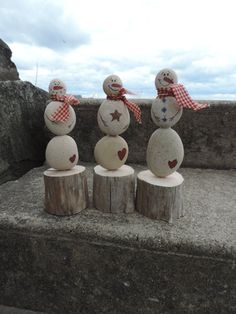 Authentic Lake Erie driftwood and white beach stone handpainted snowman beach or primitive decor  $28