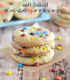 These Soft-Baked M&M Cookies are super soft and chewy, and taste just like the ones you get from the bakery! http://kitchenmeetsgirl.com/soft-baked-mm-cookies/