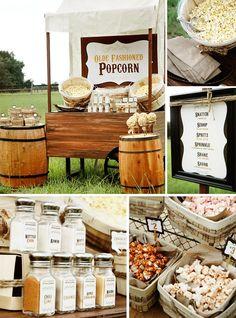 buffets, diy ideas, wedding parties, popcorn stand, party bars, popcorn bar, party buffet, buffet de, gourmet popcorn