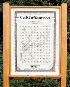 In lieu of signing a guest book, guests circled their names in a giant word search made by the bride's brother