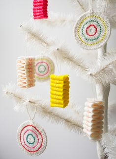 Molly's Sketchbook: Ribbon Candy FeltOrnaments - The Purl Bee - Knitting Crochet Sewing Embroidery Crafts Patterns and Ideas!