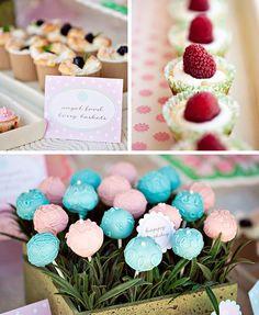 baby-shower-idea-garden-birthday shower ideas, birthday parties, food, cake pops, blue cakes, garden parties, flowers garden, dessert, baby showers