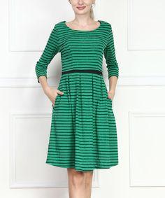 Green Stripe Fit & Flare Dress stripe fit, flare dress, green stripe