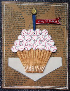 Birthday Baseball Cupcake Card