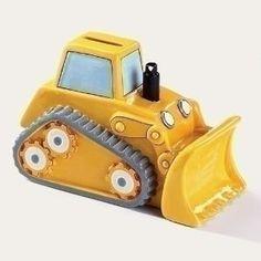 "4"" Bulldozer Tractor Piggy Bank.  Your favourite piggy banks: http://www.helpmetosave.com/2012/02/piggy-bank/"