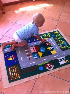DIY Felt Play Mat - For your little one to drive his/her cars on and explore. (Powerful Mothering)
