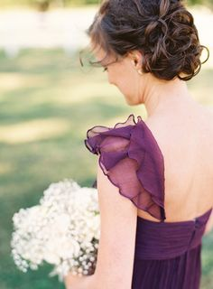 Purple Amsale bridesmaid dress