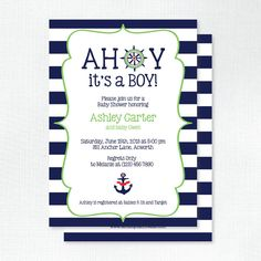 Preppy Nautical Baby Shower Invitation Ahoy It's a Boy by Tickled Peach Studio