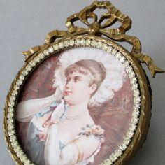 Antique GILT Brass Frame BOW Top w RHINESTONES * Miniature Portrait LADY w FAN