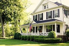 front porch design, white houses, potted plants, southern porches, dream hous, farmhouse, terracotta pots, traditional homes, front porches