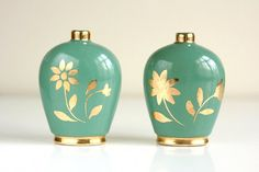 Vintage Bud Vases  Jade with Gold Flowers by WiseApple on Etsy, $12.00
