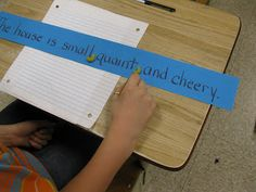 Using dried macaroni and sentence strips to practice correct comma usage.  Fun activity.