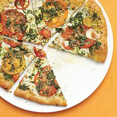 basil pizza, pizza recipes, cooking light, healthy recipes, fresh mozzarella, heirloom tomatoes, crusts, august 2013, summer recipes
