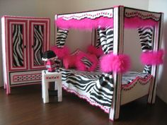 Olivia zebra Print Bedroom. Made form plastic canvas and yarn