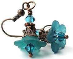 Teal Earrings. Bead Earrrings. Petite Lucite Flower Earrings with Swarovski Crystals. Fashion Earrings Under 15. Costa Rica in Teal. $12.00, via Etsy. fashion earrings, blue, lucit flower, teal earring, beads, lucite flower, flower earring, swarovski crystals, dangle earrings