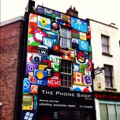 Amazing phone shop design! #bristol #streetart #graffiti #uk #urban #art #phoneshop #apps #architecture