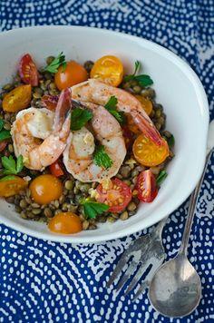 Warm shrimp and lentilsalad