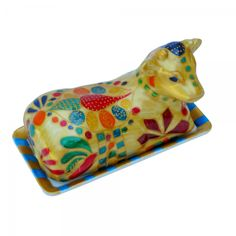 Porcelain Cow Butter Dish hand painted in the limited edition Queen of ...
