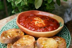 Goat cheese in tomato sauce!  Yum great appetizer.