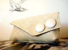 Champagne Garden Party Large Bridal Clutch by dishhandbags on Etsy, $42.00