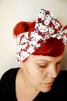 Bow hair tie Hello Kitty Red Bows by OhHoneyHush on Etsy, $12.00