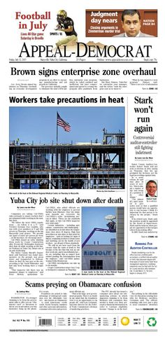 Appeal-Democrat front page for Friday, July 12, 2013.