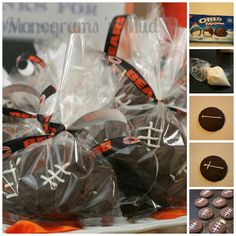 Football Cookie Favor…great for football or sports themed birthday party. Take fudge covered oreos, pipe on football laces & you're done. Post have step by step instructions and tips.