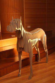 Cardboard set design.  Cardboard guard dog by Jack Chen. WOOF!