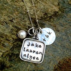 This sweet necklace is perfection for the whole family!  Hand stamped, personalized jewelry.