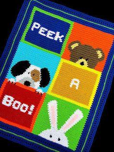 Crochet-Patterns-PEEK-A-BOO-Color-Graph-SCRAP-YARN-Baby-Afghan-Pattern-EASY