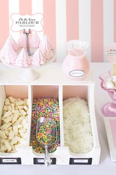 I love this idea- using a pretty file organizer to separate candy and add visual interest on your candy table! So smart!  This is also a great bridal website full of inspiring ideas!